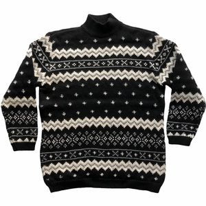 Vintage Liz Claiborne Black Fairisle Ski Sweater L